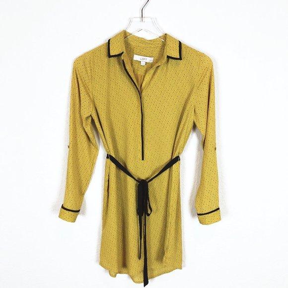 LOFT Dresses & Skirts - Loft | Yellow Long Sleeve Half Button Shirt Dress
